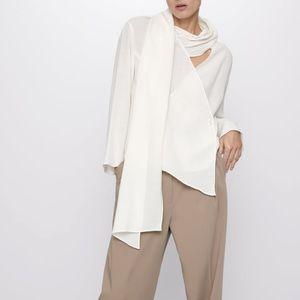 Zara wool blend scarf collar blouse